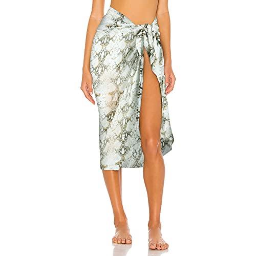 Gebell Sarong de gasa para la playa para mujer, falda envolvente, toalla de playa para mujer, bikini, ropa de playa, pareo, toalla de playa de verano verde Talla única