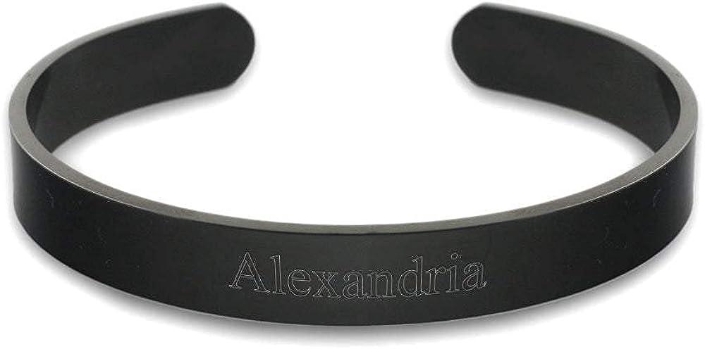 EVE'S ADDICTION Custom Engraved Black Plated Stainless Steel Cuff Bracelet