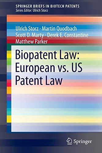 Biopatent Law: European vs. US Patent Law: European vs. US Patent Law (Springer Briefs in Biotech Patents)