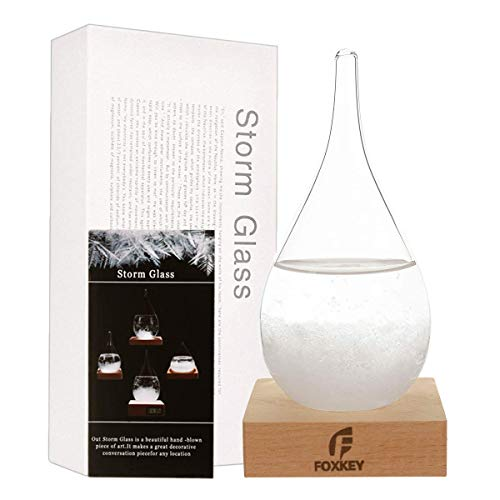 F FOXKEY Desktop Fashion Storm Glass Weather Station Water Droplet Weather Forecaster, Forecast Decorative Crystal Glass, Storm Glass Creative Desktop Decoration