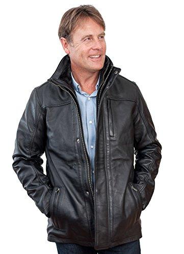 Männer von mittlerer Länge Klassische Warm schwarzen Lederjacke XL