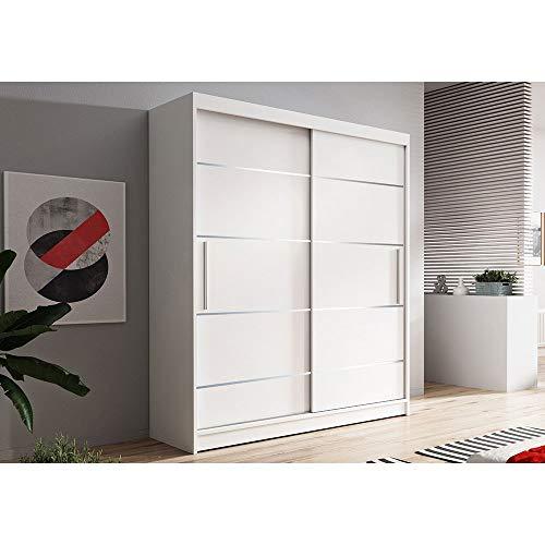 Kleiderschrank Schwebetürenschrank 2-türig Schrank mit vielen Einlegeböden und Kleiderstange Gaderobe Schiebtüren BxHxT 120x200x61 - NOAH 6 (weiß + weiß)