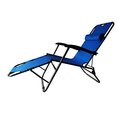 RICA-J Lounge Chair Reclining, Folding Outdoor Patio Lounge Chairs Beach Sun Pool Lawn Chaise for Outdoor Camping Patio Lawn (Blue)