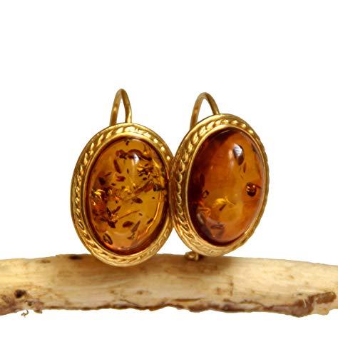 MJ Baltica Pendientes artesanales de plata 925 bañada en oro de 14k y ámbar natural BZK039