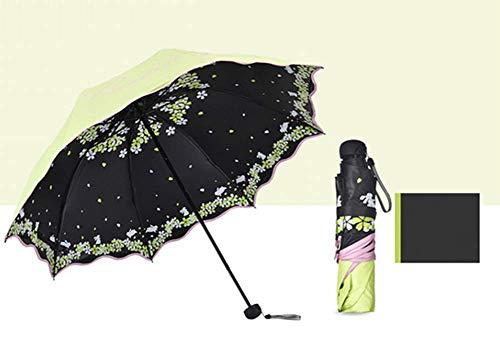 GLYHVXZ Sonnencreme-DREI-facher Regenschirm/Anti-UV-Regenschirm, Fast unattraktives Windmlast, automatisch offen/in der Nähe, Anti-Skid-Griff, einfach zu tragen,E