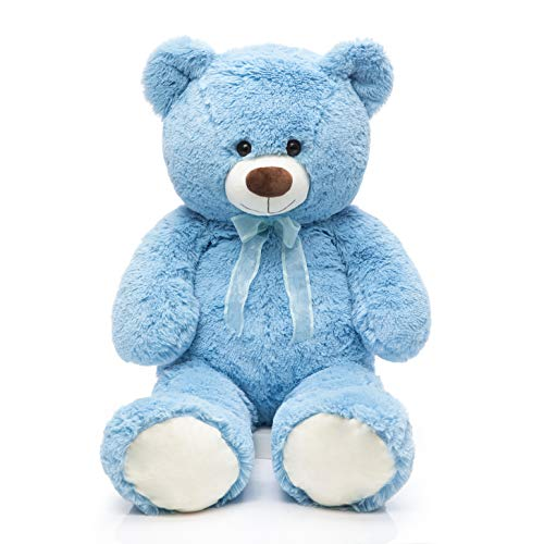 DOLDOA Giant Teddy Bear Soft Stuffed Animals Plush Big Bear Toy for Kids,Girlfriend 35.4 inch (Blue)