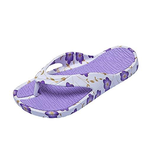 Jomix Chanclas de mujer de goma con cuña alta para casa, playa, piscina antideslizante, 08 Púrpura, 36 EU