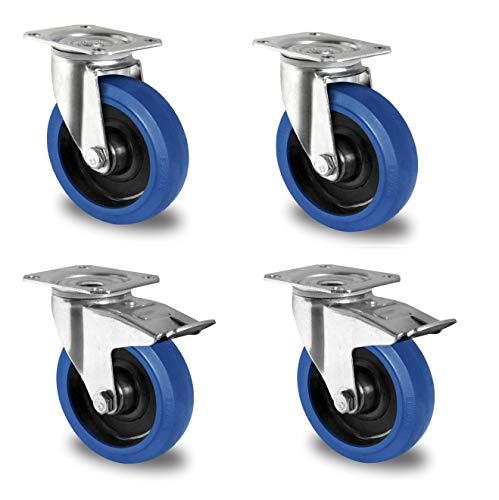Blue Wheels Transportrollen Ø 80mm, Blaue Rollen, Lenkrollen/Feststeller Bremse