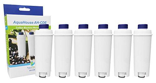 6 x AH-CDE kompatible Wasserfilter für DeLonghi Espresso und Bean to Cup-Maschinen, DLSC002, SER3017, 5513292811, 9310926, 8004399327252