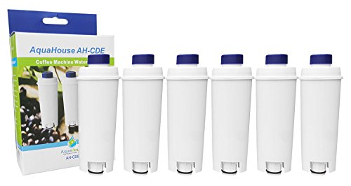 Aquahouse AH-CDE Lot de 6 filtres à eau compatibles avec machines expresso DeLonghi et Bean to Cup DLSC002, SER3017, 5513292811, 9310926, 8004399327252