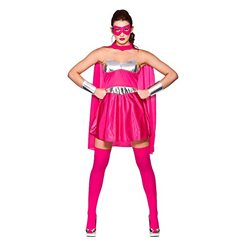 Hot Super Hero - Hot Pink /Silver (S) Fancy Dress Costume