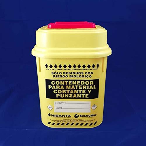 Contenedor de 5 litros, Homologado para Cortantes y Punzantes, Cuchillas y Agujas de Laboratorio y Tatuajes