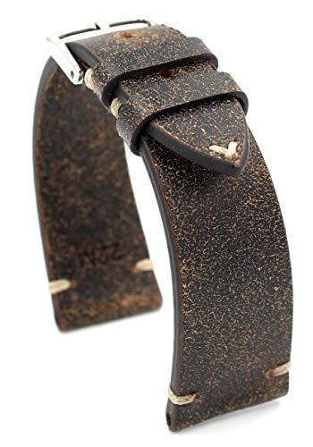 Rios1931 Sagittarius - Correa de reloj de piel de vacuno, estilo vintage, hecha a mano en Alemania, resistente, 22 mm, color marrón