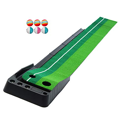 Great Deal! GYFHMY Dual-Track Indoor Golf Putting Green Set, Portable Mat with Auto Ball Return Func...