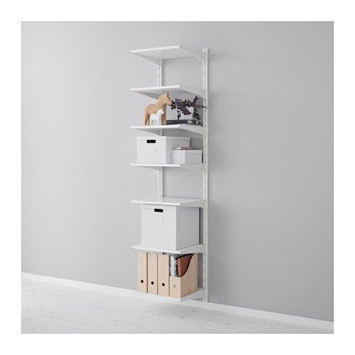 Ikea ALGOT Wandschiene/Böden Aufbewahrungssystem; in weiß; 23tlg; (46x41x197cm)