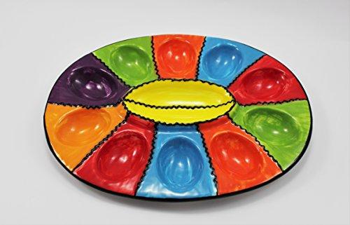 Plato de huevos de cerámica pintado a mano. Modelo estival. Medidas 29cm x 22,5cm Artesanal 10 huevos