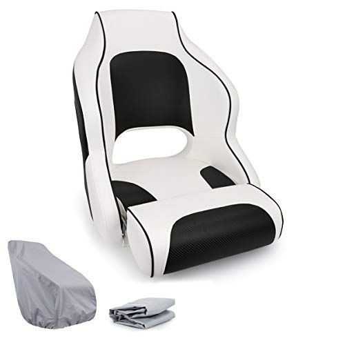 NORTHCAPTAIN M1 Premium Sport Flip Up Boat Seat Captain Bucket Seat with Boat Seat Cover, White/Black
