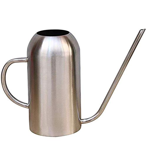 HEMFV 1.5L Stainless Steel Watering Can Bonsai Indoor Plants Water Pot with Long Spout Lawn & Garden Watering Equipment