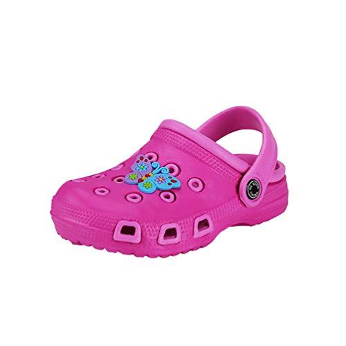 Kaiyei Kinder Clogs Jungen Mädchen Hausschuhe Sandalen rutschfest Atmungsaktiv Leicht Eva Gartenschuhe Kleinkinder Surfen Sommer Schuhe Playshoes Pink/Schmetterling 29 EU
