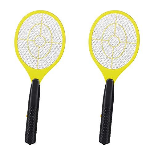 Relaxdays 2 x elektrische Fliegenklatsche, ohne chemische Stoffe, Fliegentöter, gegen Fliegen, Mücken & Moskitos, Fly Swatter, gelb