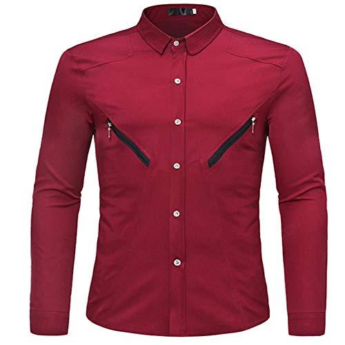 Generice Neue Langarmshirt Herren Europäische Größe Reißverschluss Dekoration Koreanisch Slim Wild Herren Casual Hemd Gr. M, rot