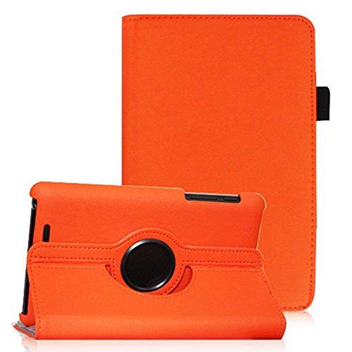 COOVY® Cover für Google ASUS Google Nexus 7 (1. Generation Model 2012) Rotation 360° Smart Hülle Tasche Etui Hülle Schutz Ständer Auto Sleep/Wake up   Farbe orange