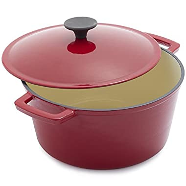 Sur La Table Red Lightweight Cast Iron Dutch Oven 25318, 5 qt.