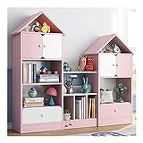 jiji libreros Gabinete de visualización de Almacenamiento de Libros con cajones, librero en Forma de casa, Estante multifunción con Puerta para la Oficina en casa (tamaño : Combination Pink)