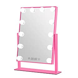 GeekHouse Tabletops Lighted Makeup Vanity Mirror Hollywood Style LED Bulb & Dimmer & Clock USB Powered Pink