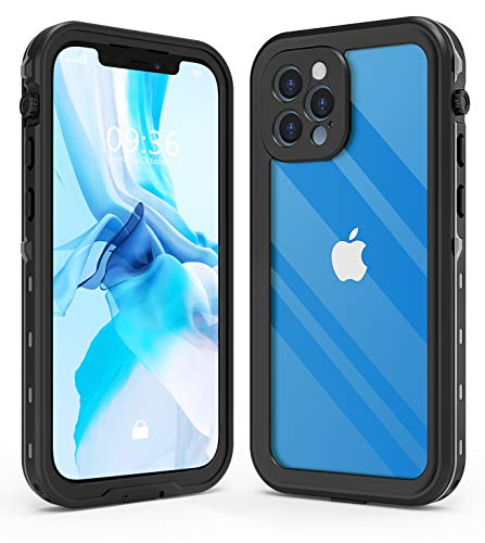 IBELIEF Waterproof Case Designed for iPhone 12 Pro 6.1 inch,Full Body Sealed Cover with Built in Screen Protector,IP68 Waterproof Shockproof Clear Rugged Case.(Black)