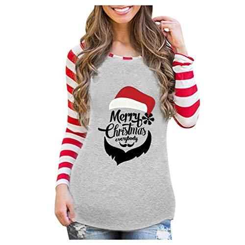 Camiseta de manga larga para mujer, diseño de rayas con árbol de Navidad, camiseta informal y cuello en O, manga larga Gary. L