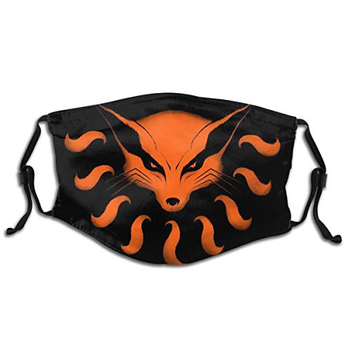 3D Print Naruto Nine-tailed Fox Comfortable Windproof Dustproof Reusable cloth Face mask for Teen,Boys,Girls (1 Pcs with 2 Filter)