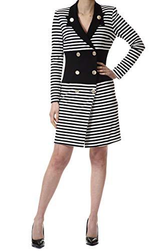 Cristinaeffe Vestido de doble pecho a rayas. Leche negra 42