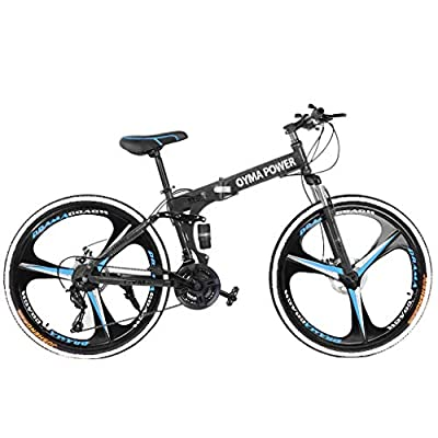 26in Folding Mountain Bike Shimanos 21 Speed Bicycle Full Suspension MTB Bikes, Bikes for Women, Men and Teens(Stock in US) (A)