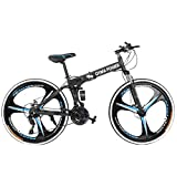 26in Folding Mountain Bike, Full Suspension Road Bikes with Disc Brakes, Shimanos 21 Speed Bicycle Full Suspension MTB Bikes for Men\/Women