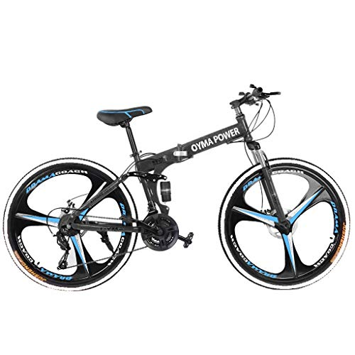 KomLid Outroad Mountain Bike, Full Suspension MTB Youth and Adult Bicycle Bike High Carbon Steel Trail Mountain Bike US Shipment 3x7-Speed, 26-inch Wheels (Blue, 59x9.8X(23-27.5) in)