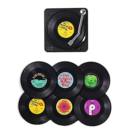 Lingge 6 stuks retro cd onderzetters, antislip onderzetters met houder, glazen onderzetters voor tafel, dranken, thee…