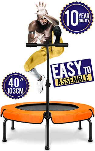 Fitness Trampoline with Handle,Home Exercise Foldable Trampoline Rebounder,40 inch,User Max Weight 250 lbs