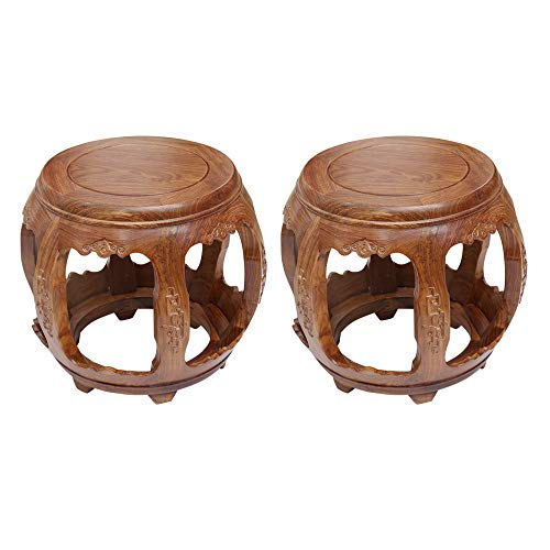 Taburete de bar 2PCS, taburete de tambor de madera maciza, taburete redondo chino antiguo, muelle de asiento de palisandro, taburete corto de mesa de centro para sala de estar en casa/B / 29×