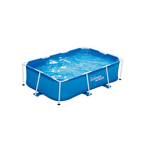 Summer Waves P30509260 8.5 x 5.25 Foot 26 Inch Deep Rectangular Small Metal Frame Above Ground Family Backyard Swimming Pool, Blue -  Polygroup