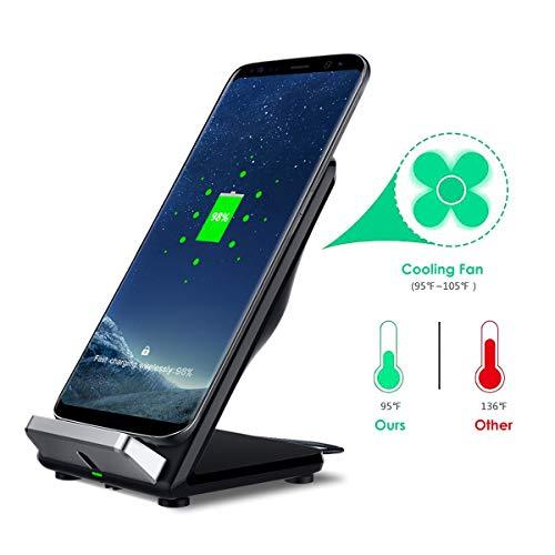 Jinxuny Cargador rápido inalámbrico con ventilador de refrigeración compatible con iPhone Samsung Galaxy