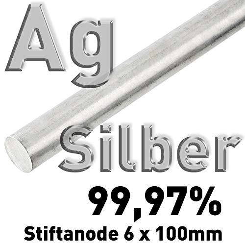 Silber Ag 99,97% Stab-Anode ⌀6 mm x 100 mm Galvanik Feinsilber Elektrode Silberstab 10 cm