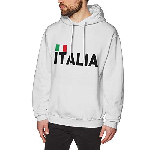 Mens Long Sleeve Hoodies Casual Hooded Sweatshirt, Italia Flag Size XXL White