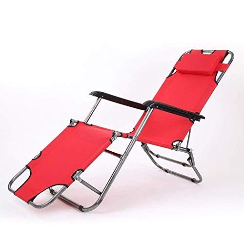 WJJJ Zero Gravity Verstellbarer Liegestuhl mit Kopfstütze Gartenstühle, 150 kg (Farbe: Rot)