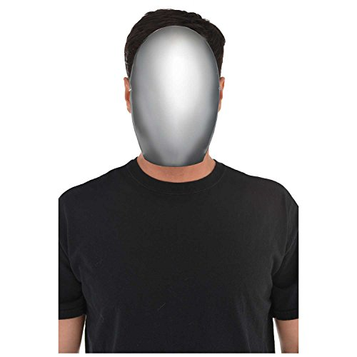 amscan Gesichtloses Kostüm für Erwachsene, Silberne Maske, 1 Stück, weiß