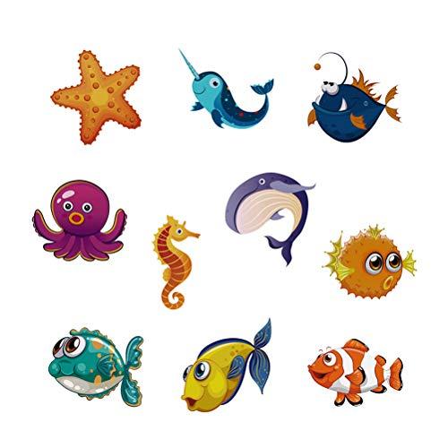 NUOBESTY 10 Stücke Kinder Badewanne Aufkleber Antirutschaufkleber Anti Rutsch Sticker Kühlschrank Aufkleber für Baby Badezimmer Dusche und Bad