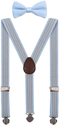 WDSKY Mens Suspenders and Bow Tie Set for Wedding with Heart Clips 47 Inches Light Blue Stripe product image