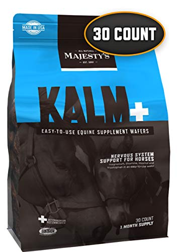Majesty's Kalm Wafers - Supports Horse / Equine Balanced Behavior and Normal Nervous System Function - Tryptophan, Vitamin B1, Winter Cherry, Inositol - 30 Count (1 Month Supply)