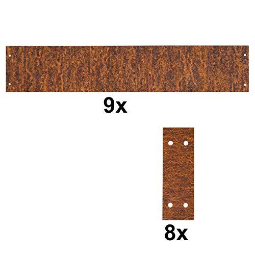 ESTEXO 9X Rasenkante aus Edel-Rost 100 cm Beeteinfassung Hochbeet Beetumrandung Mähkante Cortenstahl inkl. 8 Verbinder sowie Schrauben zur Befestigung
