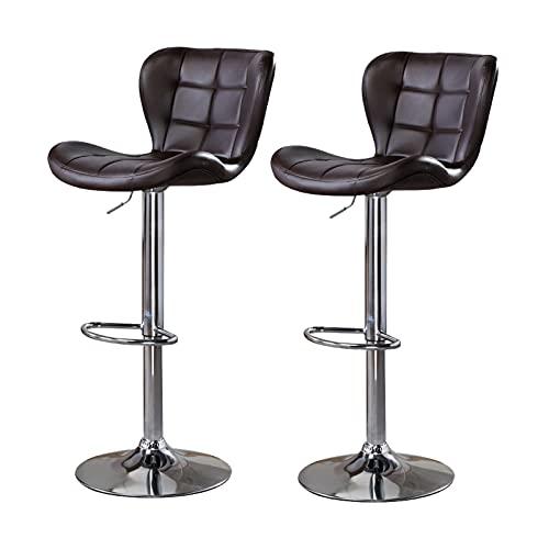 Taburetes de bar ajustables de 24.8 a 33 pulgadas, juego de 2 taburetes de bar giratorios rústicos con sillas de altura de mostrador trasero para taburetes de bar de cocina de pub, marrón vintage